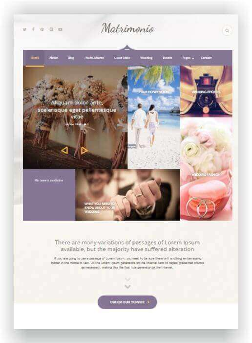 Wordpress theme for Weddingplanner