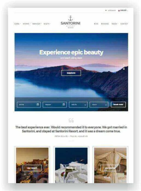 WordPress Template for Hotel
