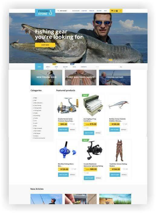 Wordpress Webseite acessórios pesca