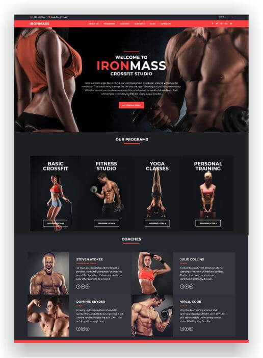 Wordpress Theme für Fitness Studio