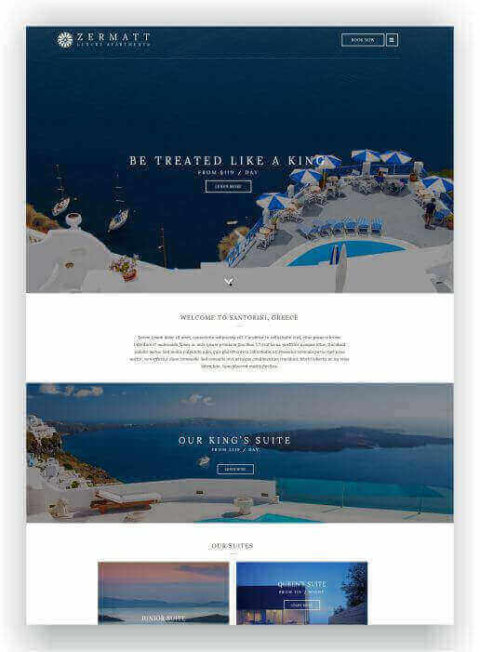 Hotel template for WordPress