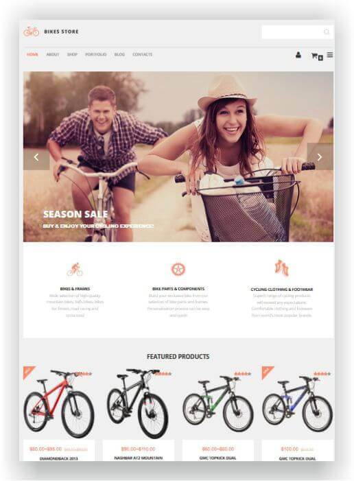 WordPress Theme for Bicycle Store