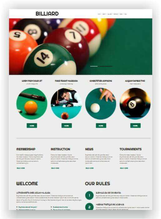 Blog Theme für Billiard