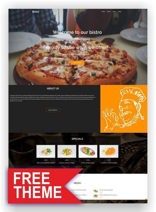Tema gratuito do WordPress Restaurant