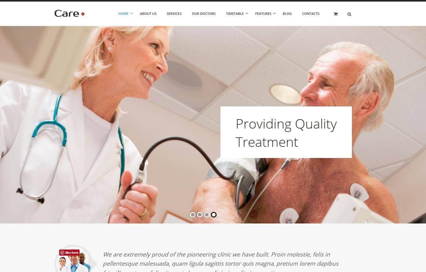 webseite für eine klinik