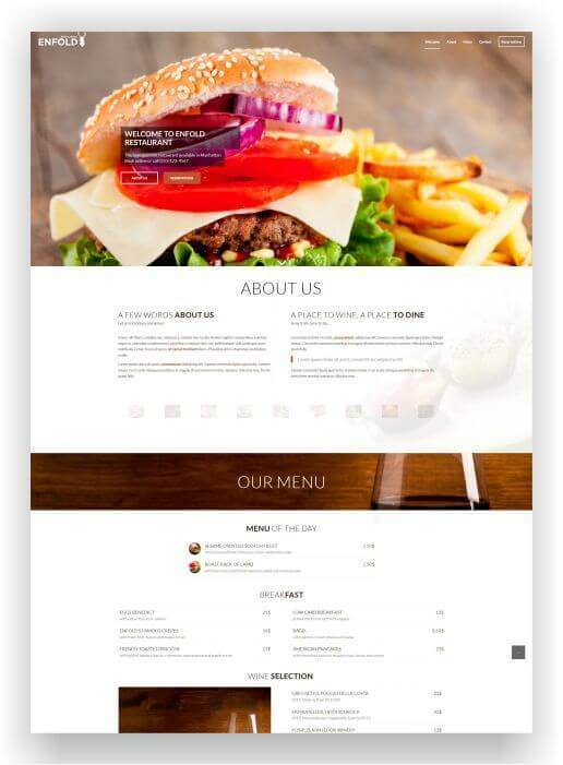 Wordpress Theme für Restaurant