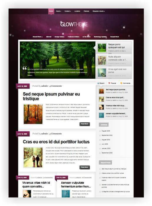 Wordpress Theme GLOW by Elegantthemes