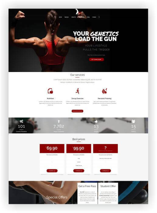 Wordpress Thema für Gym