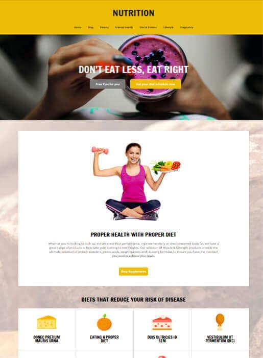 Wordpress Theme für Ernährung