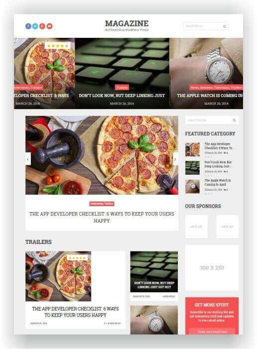 Tema WordPress simples para revista