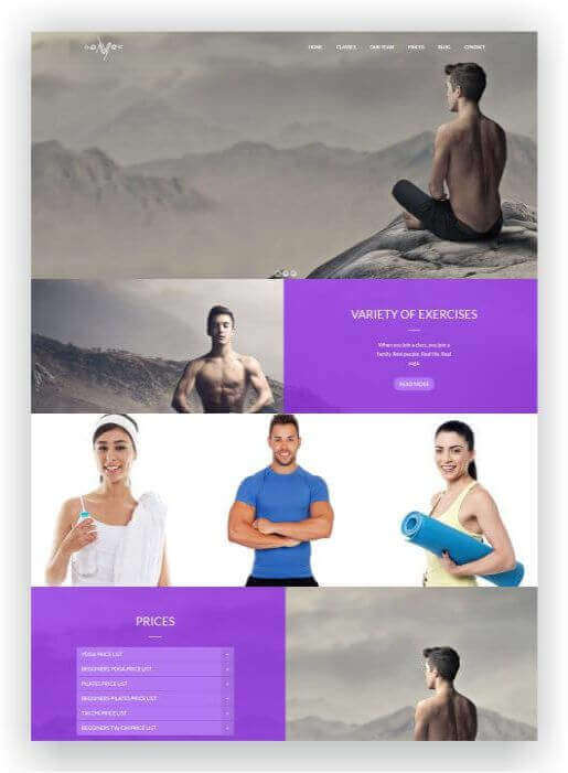Wordpress Thema für Yoga Studio