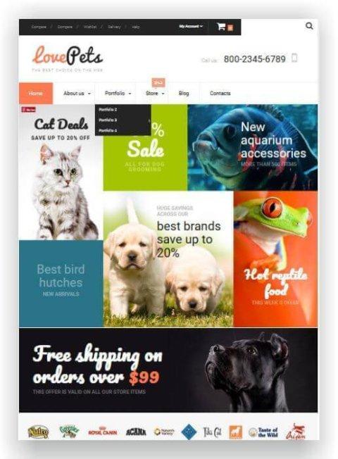 WooCommerce Thema für Zoohandlung