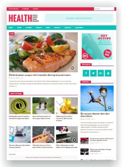 WordPress Magazine Fitness
