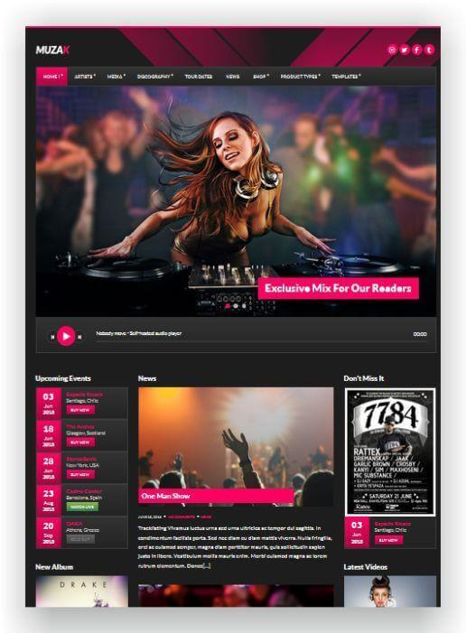 Wordpress Music Theme Muzak
