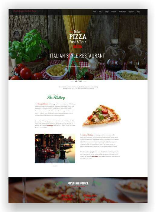 Wordpress Theme für Pizzeria