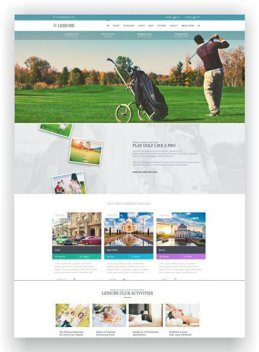 Wordpress Thema für Golf Resort