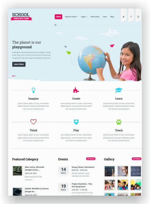 Wordpress Ttheme for schools