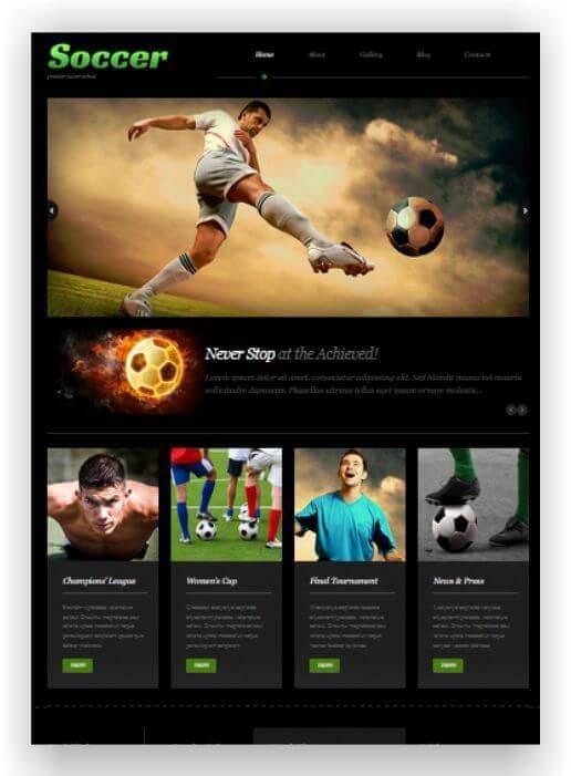 Wordpress Thema für Fussball Schule