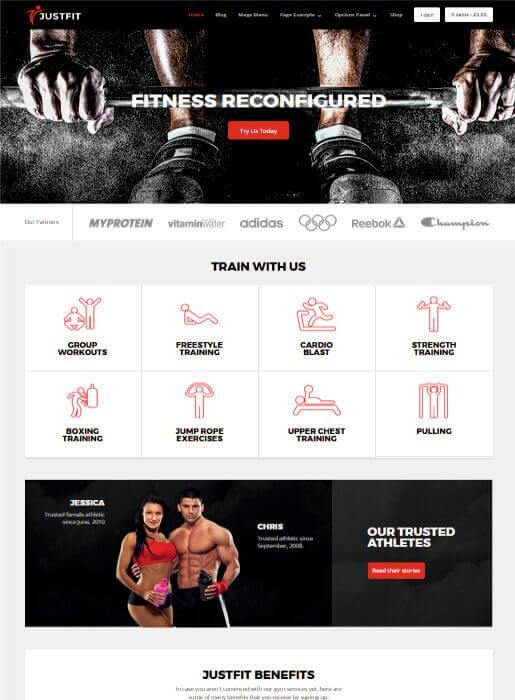 Wordpress Theme für Fitnessstudio