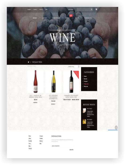 Webshop Theme for wine