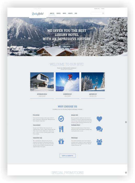 Wordpress Thema für Schihotel
