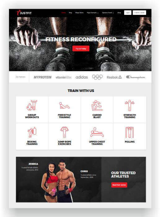 Wordpress Thema für Fitness Studio