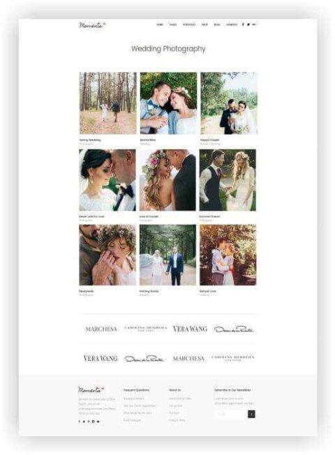 Webseite für Hochzeitsfotos