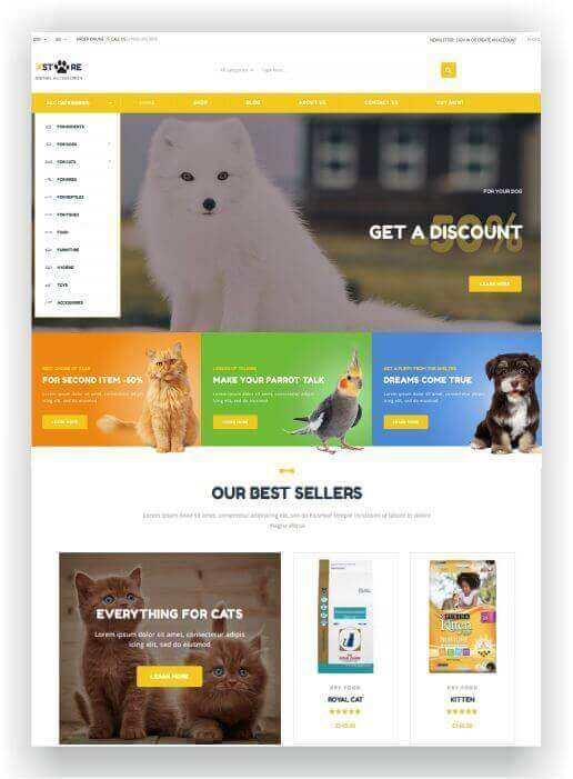 Woocommerce animal shop