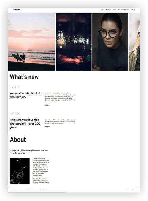 WordPress template for photos