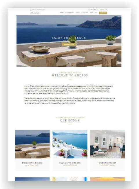 WordPress Hotel Webseite Andros